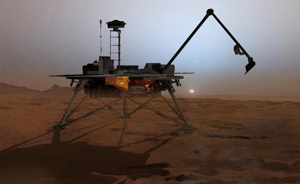 """Марсоход """"Феникс"""" наблюдал снег на Марсе"""