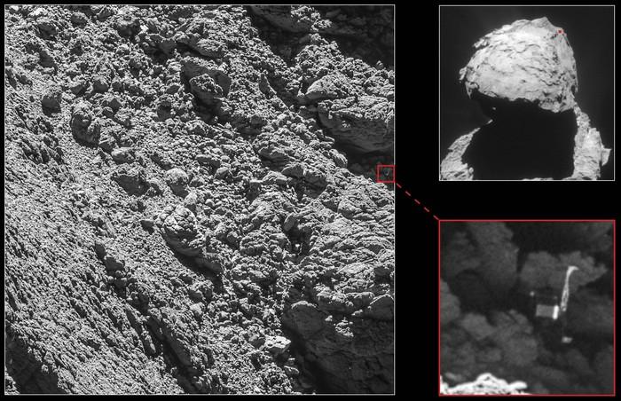 На снимках кометы Чурюмова-Герасименко найден потерянный зонд