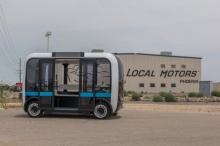 Автобус Olli  с искусственным интеллектом, напечатанный на 3D-принтере